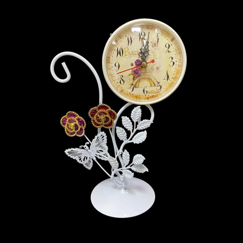 MML15993  (1-36) Часы металлические белые с бабочкой и цветком 16*10*29см