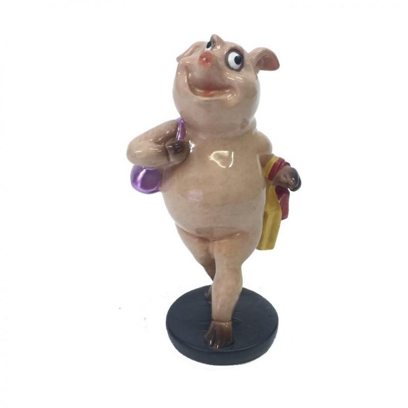 HOL21447  (6-72) Свинья модница 6*5*10см