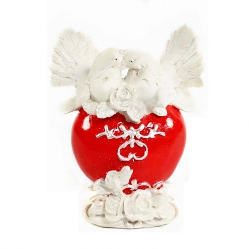 EPW31263  (24) Копилка Свадебные голуби  на красном сердце  16см