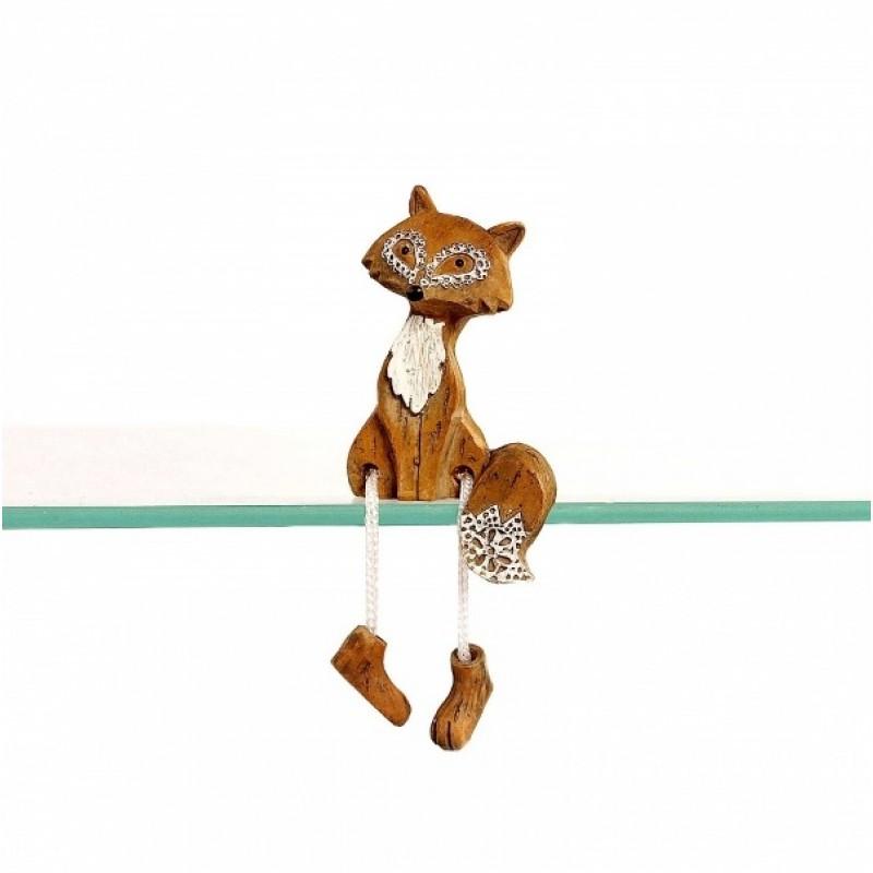 KEN78088  (12-216) Фигурка Лиса на полку, с веревочными ножками,6*4*9см