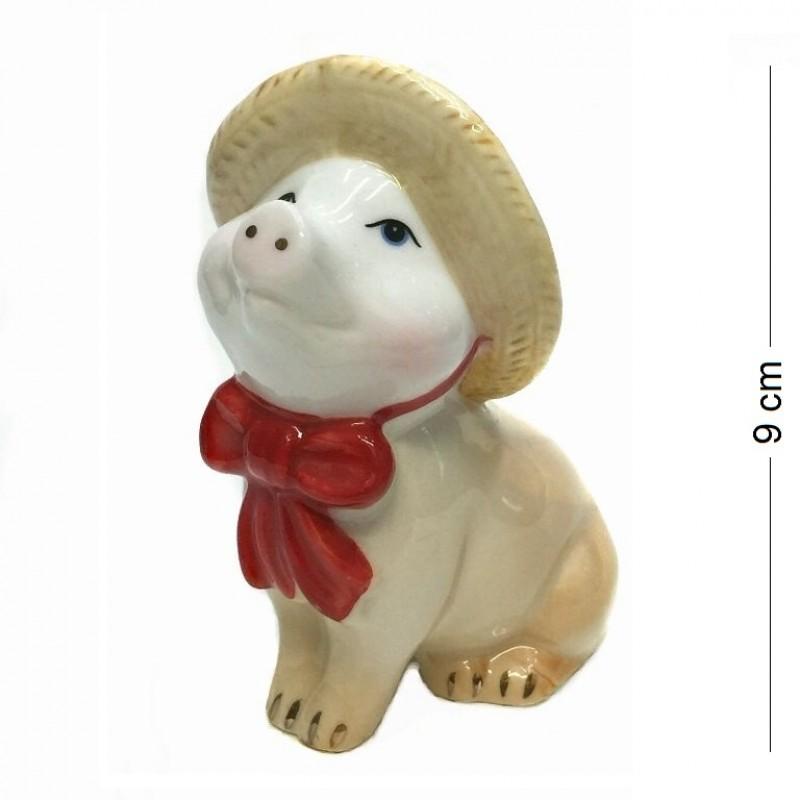 DIN3097  (1-96) Фигурка Свинка в шляпке, фарфор 7*5*9см
