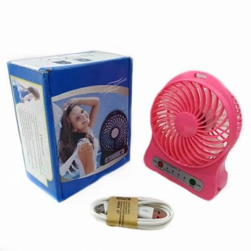 Вентилятор настольный на аккумуляторе F002 Usb. Ярко-Розовый 11*4*14см