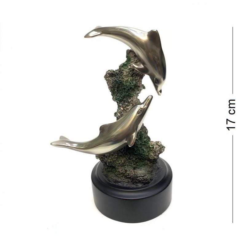 043005  (1-8) Фигурка  Дельфины  на подставке 17см