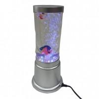 Лампа аквариум с рыбками  A15  (24) 39см, d=8см, с LED подсветкой