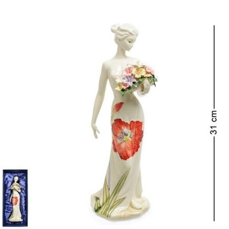 JP-155/ 2 (12) Статуэтка Девушка с букетом цветов (Pavone) h=31см