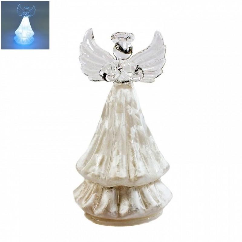 GLT10082 (1-48) Ангел стекл. со светом 6*10см