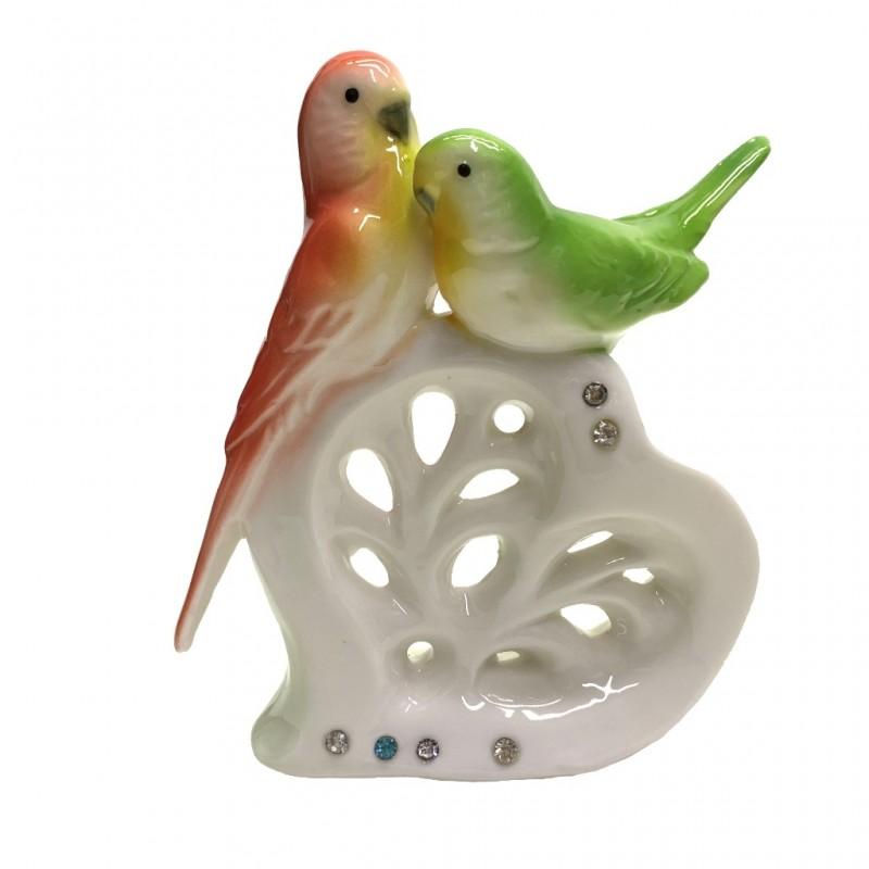 B2187-4  (72) Попугай (фарфор), 4цвета, 13см