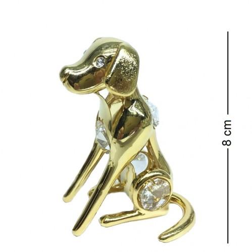 194-001-GCL  Собака с тремя кристаллами Сваровски, h=8см