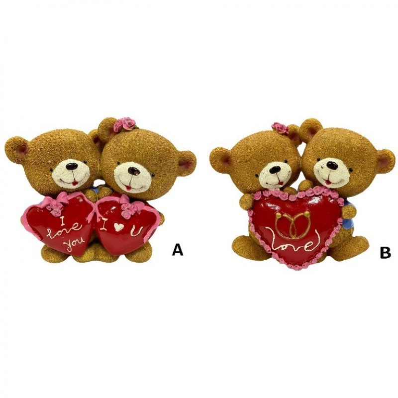 C10588  (1-36) Фигурка Пара медвежат с сердцем, 2вида 16*8*13см