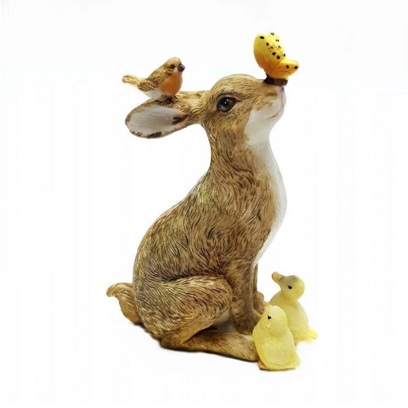 KEN78754  (2-36) Кролик с птичками 10*5.5*13см
